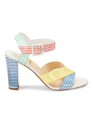 Christian Louboutin palavas patent leather striped ankle-strap sandals