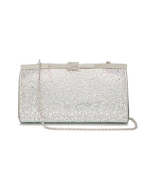 Christian Louboutin palmette crystal embellished suede clutch
