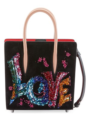 Christian Louboutin Paloma Small Love Embroidered Suede Tote Bag