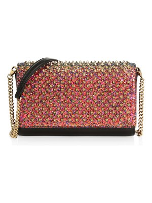Christian Louboutin paloma spiked glitter leather clutch