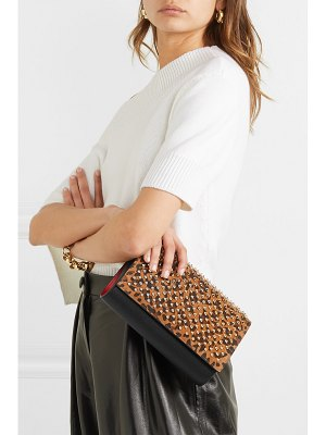 Christian Louboutin paloma spiked leopard-print suede and leather clutch