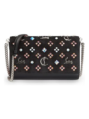 Christian Louboutin paloma studded leather & suede clutch