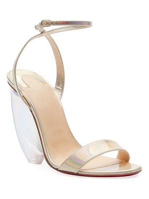 Christian Louboutin Pebble Queen Iridescent Red Sole Sandals