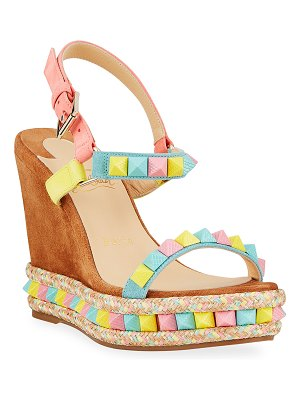 Christian Louboutin Pyraclou Spiked Multicolor Wedge Espadrille Sandals