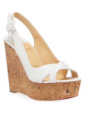 Christian Louboutin Reine de Liege Napa Red Sole Wedge Sandals