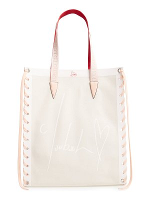 Christian Louboutin small cabalace canvas & leather tote