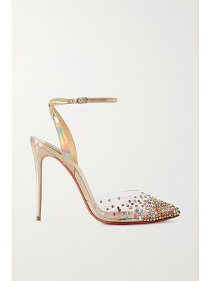Christian Louboutin spikaqueen 100 crystal-embellished pvc and iridescent leather pumps