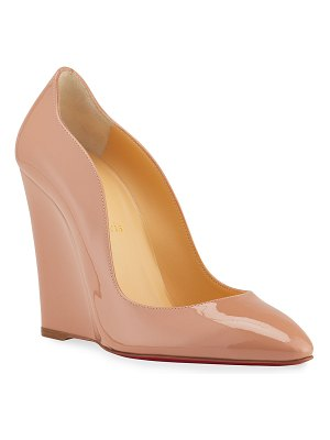 Christian Louboutin Tanja 100 Patent Red Sole Wedge Pumps