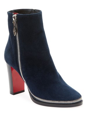 Christian Louboutin Telezip Suede Red Sole Booties