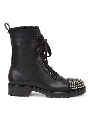 Christian Louboutin ts croc studded leather combat boots