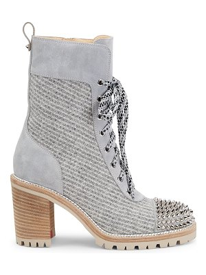 Christian Louboutin ts croc studded wool & suede hiking boots