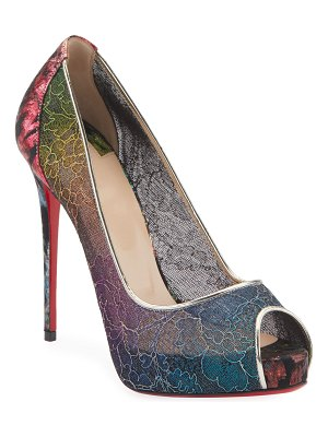 Christian Louboutin Very Lace 120mm Rainbow Peep-Toe Red Sole Pumps