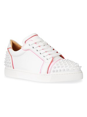 Christian Louboutin Vieira Bicolor Spike Low-Top Red Sole Sneakers