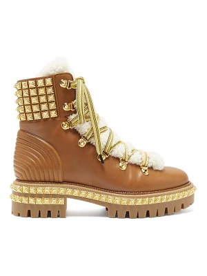 Christian Louboutin yeti donna faux-fur trim studded leather boots