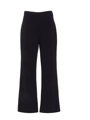 Christian Siriano black cropped flare crepe trouser