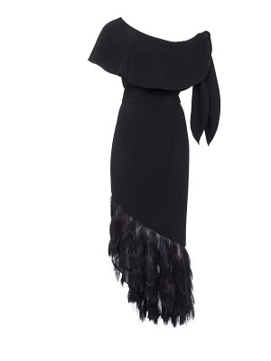 Christian Siriano black flounce off the shoulder crepe dress