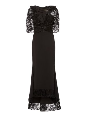 Christian Siriano devore-trimmed strapless crepe gown