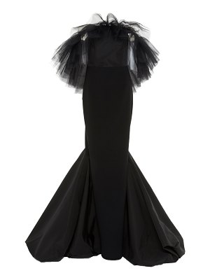 Christian Siriano ruffled tulle crepe gown