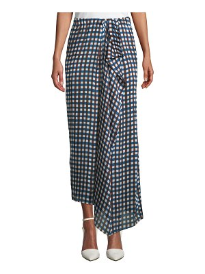 CHRISTIAN WIJNANTS Soko Draped Check Long Skirt