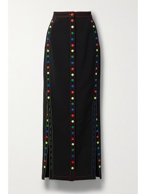 Christopher John Rogers button-detailed topstitched crepe maxi skirt
