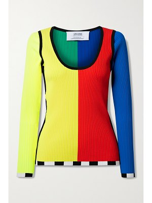 Christopher John Rogers color-block ribbed-knit sweater