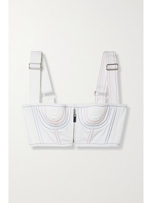 Christopher John Rogers cropped topstitched cotton-blend bustier top