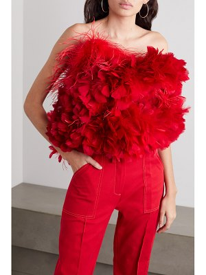 Christopher John Rogers feather-trimmed cotton bustier top
