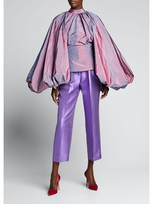 Christopher John Rogers Oversized-Sleeve Ruched Silk Top