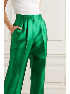 Christopher John Rogers pleated silk and wool-blend straight-leg pants