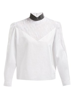 Christopher Kane crystal embellished neck lace poplin blouse