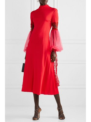 Christopher Kane embroidered tulle-trimmed jersey and mesh midi dress