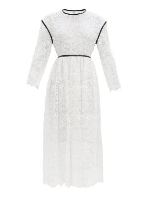 Christopher Kane faux leather-trim broderie anglaise midi dress