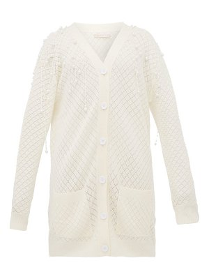 Christopher Kane faux pearl embellished wool cardigan