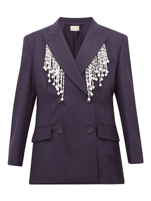 Christopher Kane faux pearl fringed double breasted wool blazer