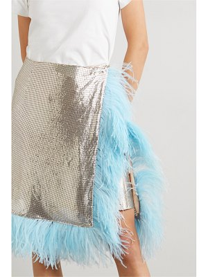 Christopher Kane feather-trimmed chainmail wrap skirt