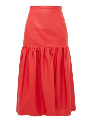 Christopher Kane gathered leather midi skirt