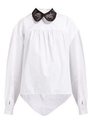 Christopher Kane lace collar asymmetric cotton poplin shirt