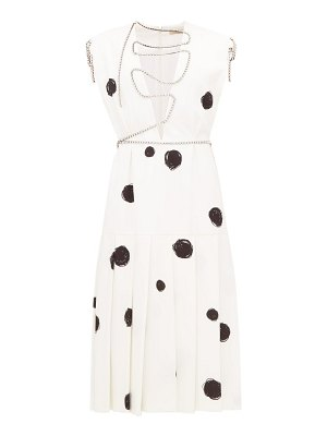 Christopher Kane polka dot squiggle cupchain crepe midi dress