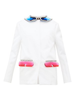 Christopher Kane pvc collar and pocket satin jacket
