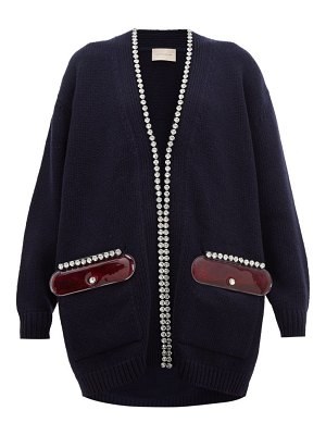 Christopher Kane pvc pocket crystal embellished wool cardigan