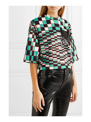 Christopher Kane sequin-embellished printed stretch-scuba top