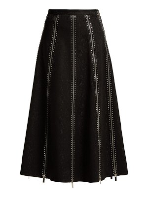 Christopher Kane Zip-panelled crystal and lace midi skirt