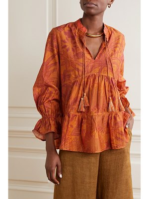 CHUFY arequipa tiered printed cotton and silk-blend voile blouse