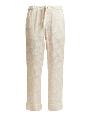 CHUFY Floral-jacquard cherry blossom-print trousers
