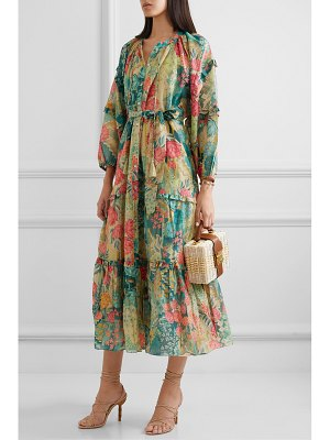 CHUFY huayna tiered floral-print cotton and silk-blend maxi dress