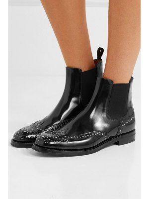 CHURCH'S ketsby met studded glossed-leather chelsea boots