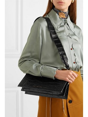 Chylak glossed croc-effect leather shoulder bag