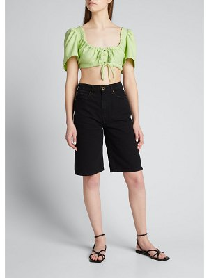 Ciao Lucia Renata Cropped Button-Front Top
