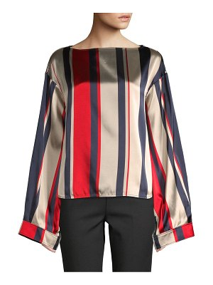 Cinoh Striped Long Bell-Sleeve Blouse