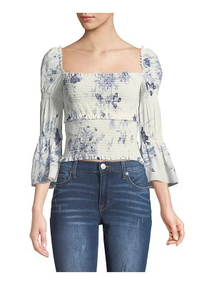 Cinq a Sept Adelaide Inky Floral Smocked Silk Top